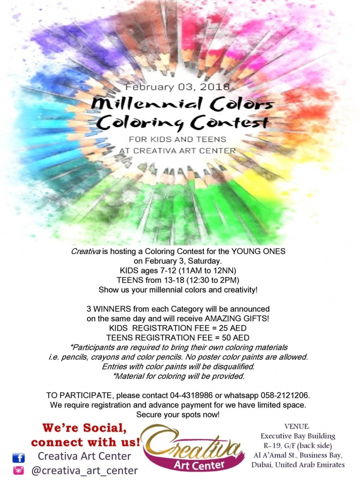 Millennial Colors Coloring Contest for Kids and Teens   Tickikids Dubai